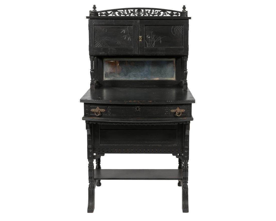 Ebonized Two Part Victorian Davenport Desk