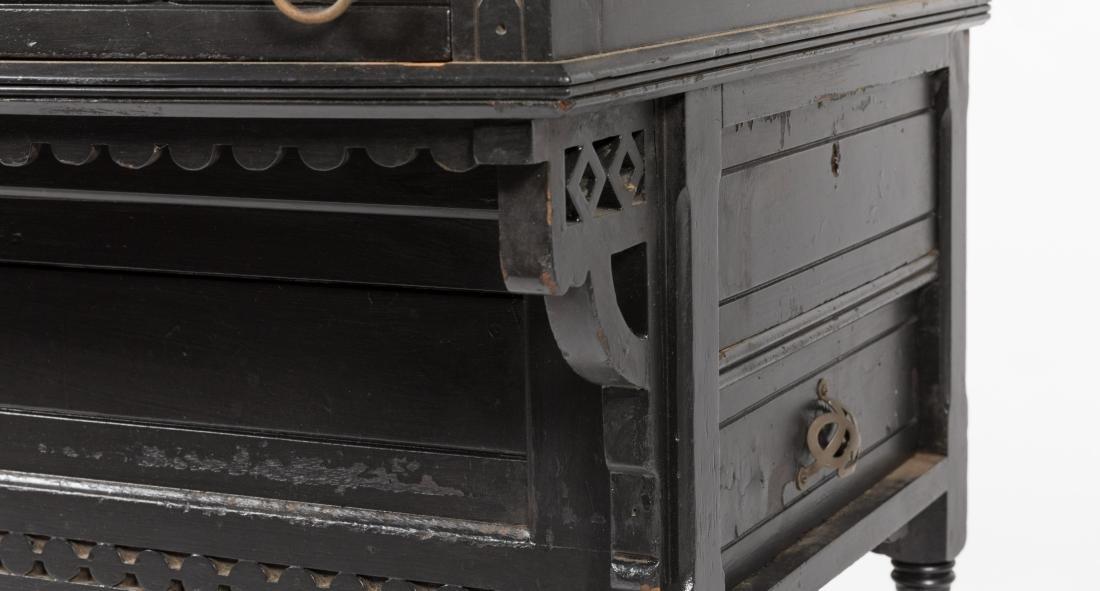 Ebonized Two Part Victorian Davenport Desk - 2