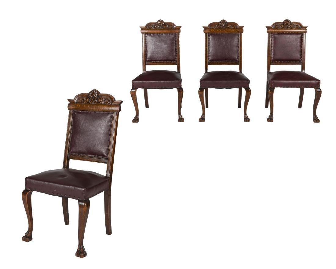 Four Quarter Oak Leather Chairs