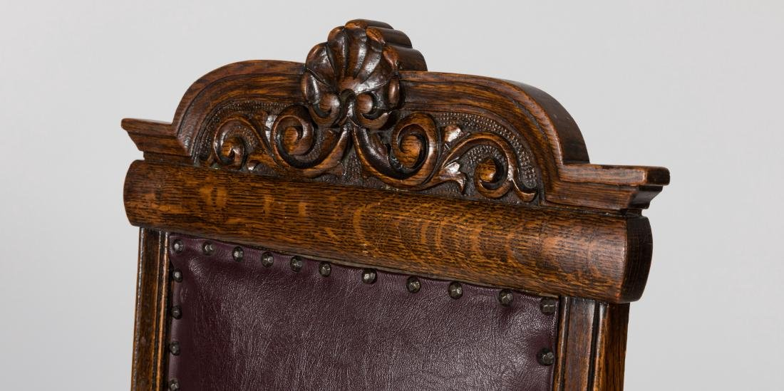 Four Quarter Oak Leather Chairs - 2