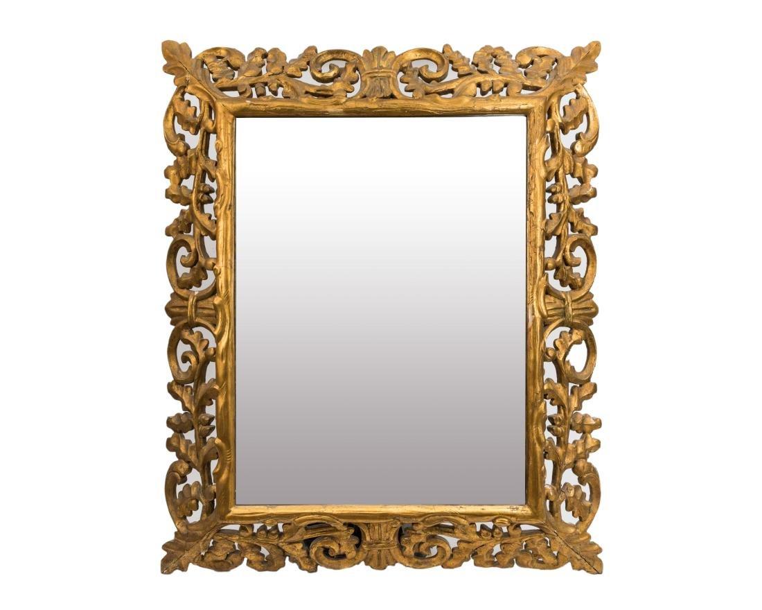 Carved Gold Leaf Acorn and Leaf Beveled Mirror