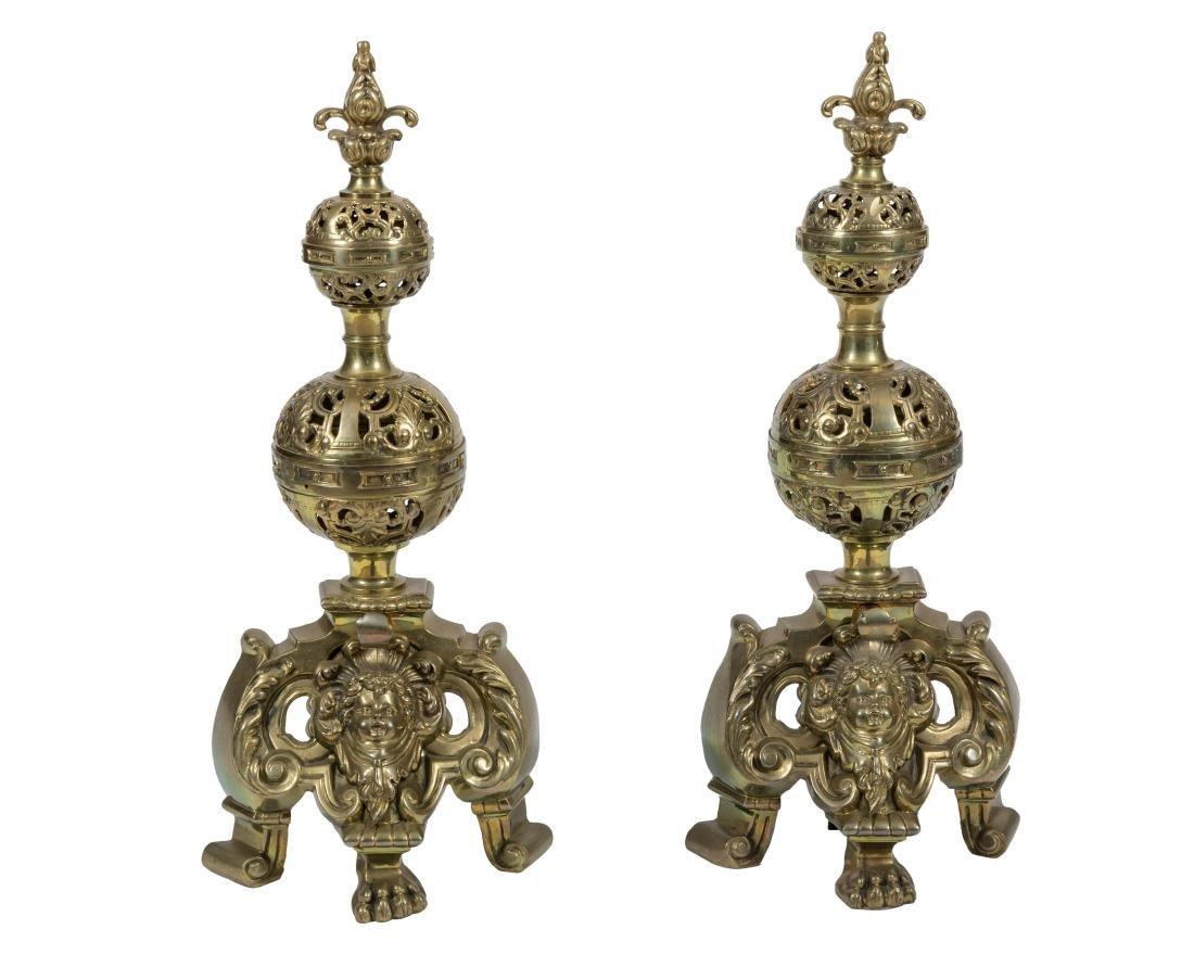 Pair Figural Brass Andirons