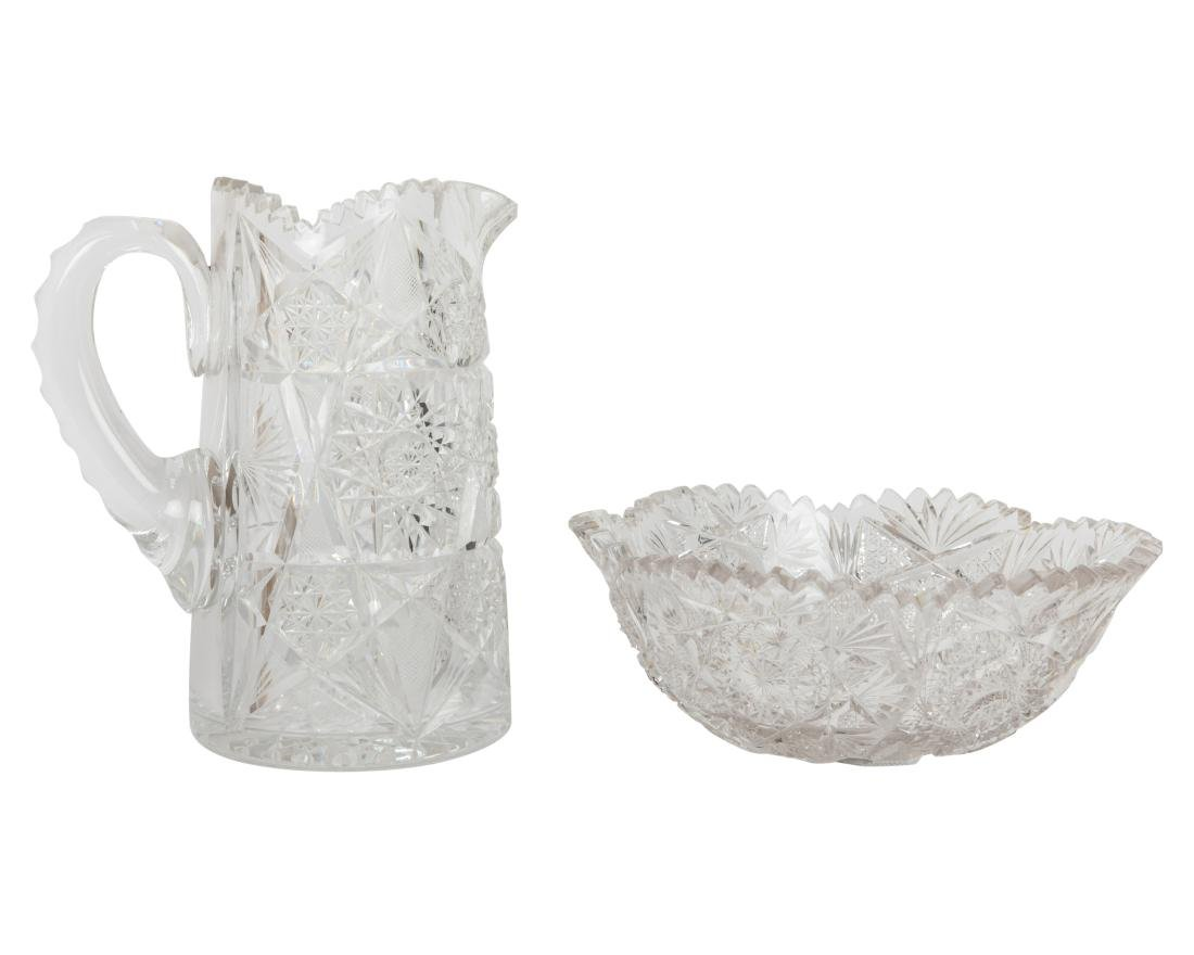 Brilliant Cut Glass Pitcher and Fruit Bowl