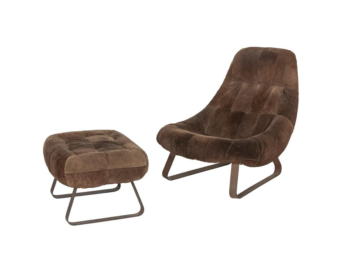Percival Lafer Suede Earth Chair and Ottoman