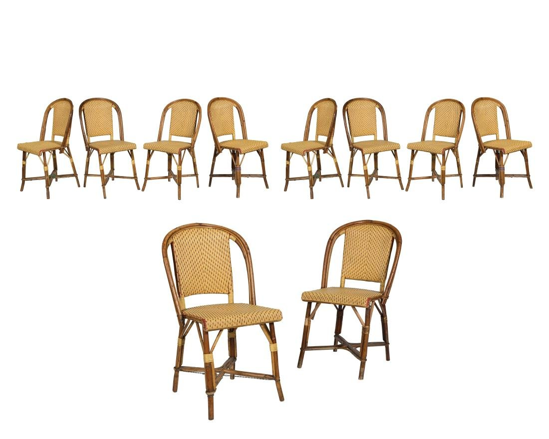 Drucker French Rattan Chairs - Signed - Set of Ten