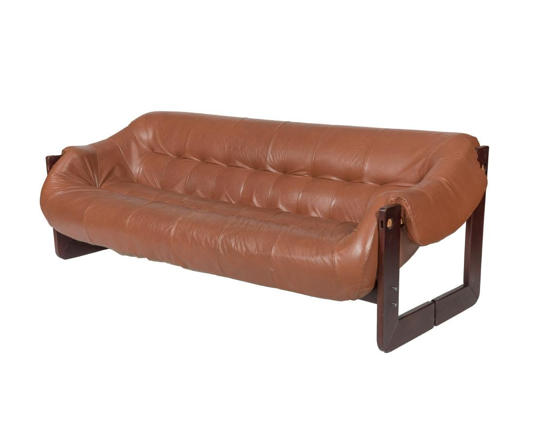 Percival Lafer Rosewood and Leather Sofa