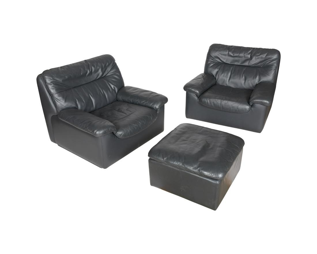 De Sede by Stendig Pair Lounge Chairs and Ottoman