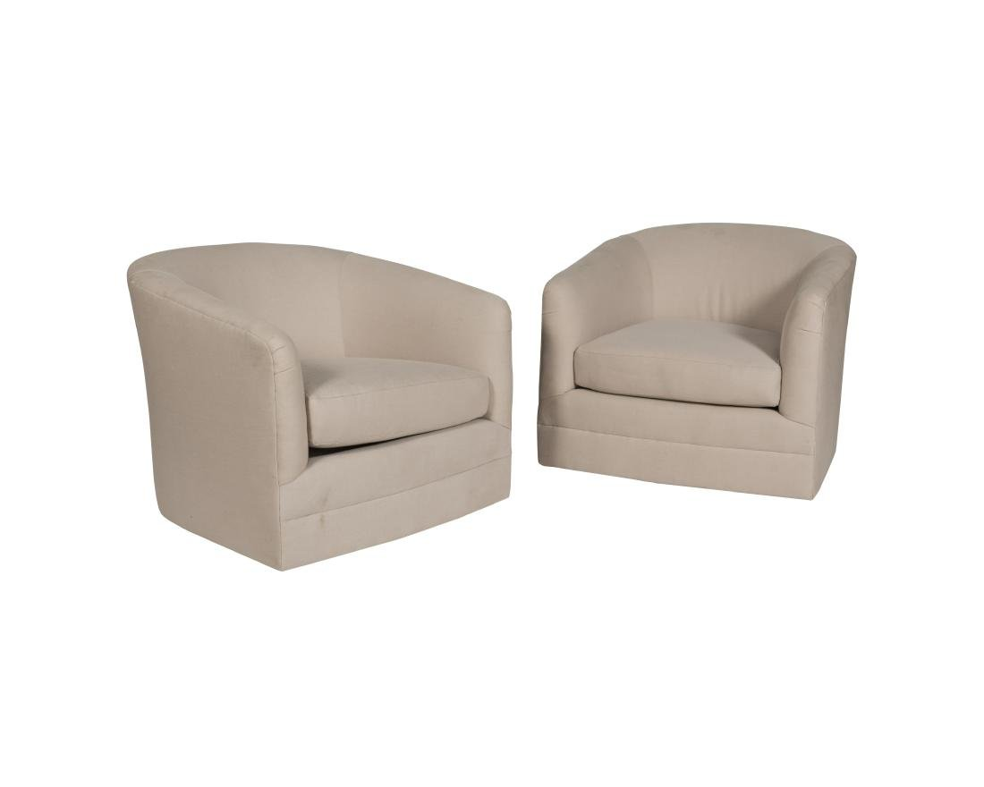 Milo Baughman Style Tub Chairs - Pair