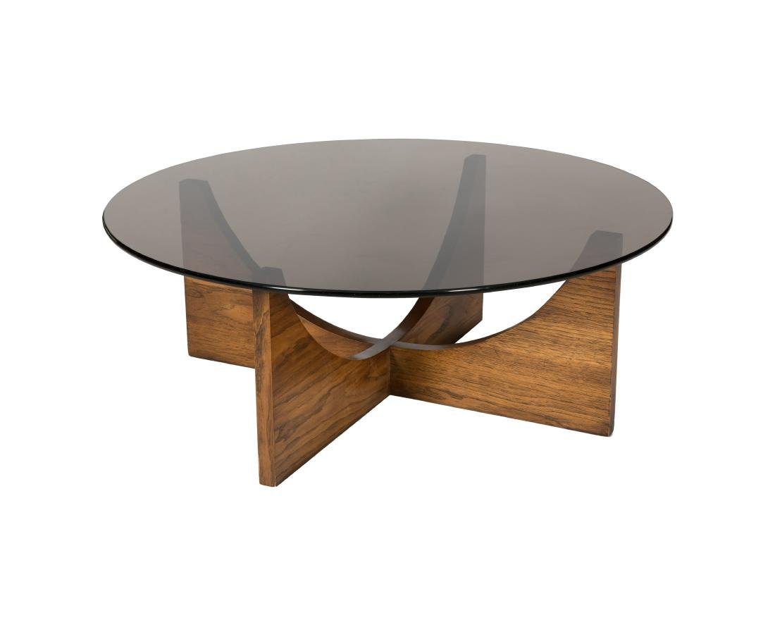 Rosewood Table with Smoked Glass