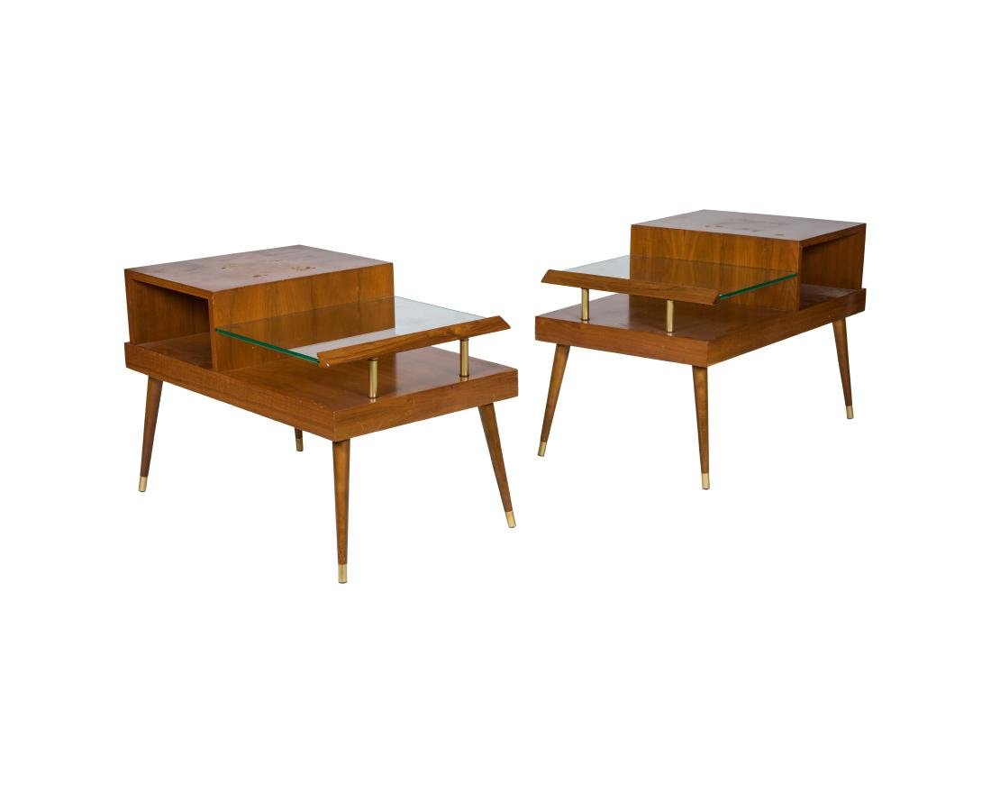 Mid Century Walnut End Tables - Pair