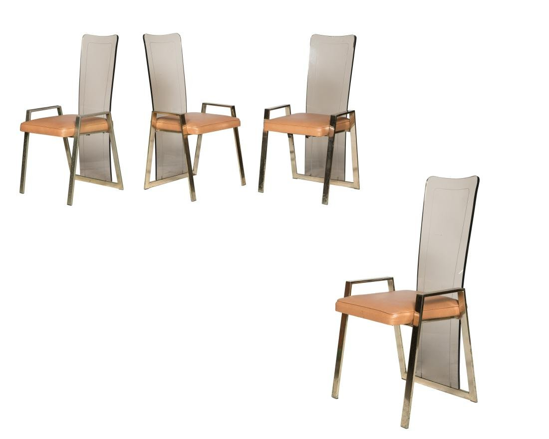 Lucite and Brass Kitchen Chairs - Set of Four