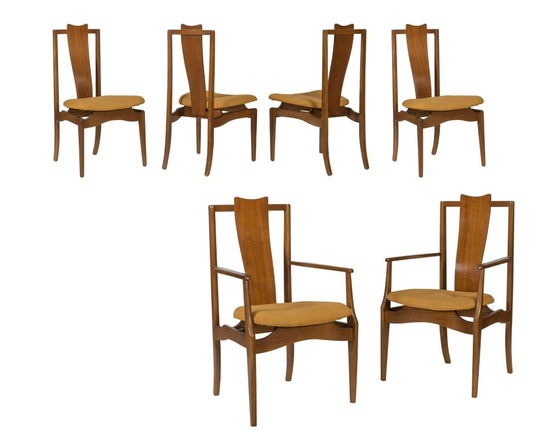 Young Manufacturing Walnut Sculpted Chairs - Six
