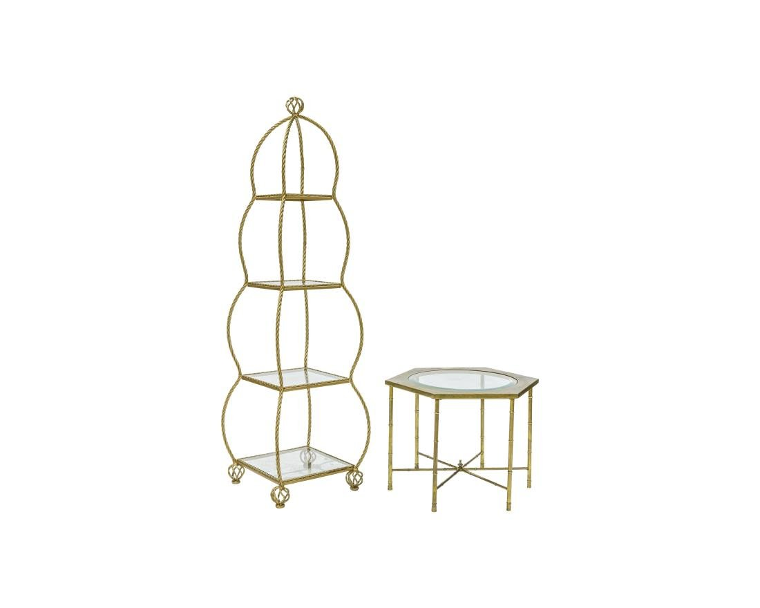 Brass Rope Etagere and Mastercraft Table
