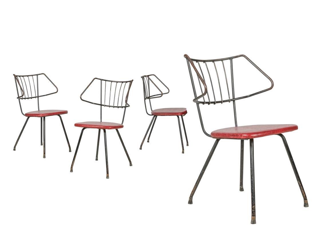 Mid Century Iron Kitchen Chairs - Four