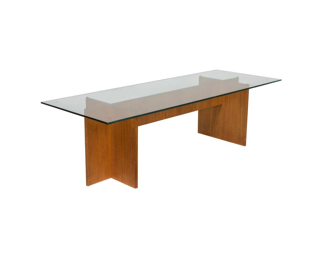 Teak and Glass Double Pedestal Coffee Table