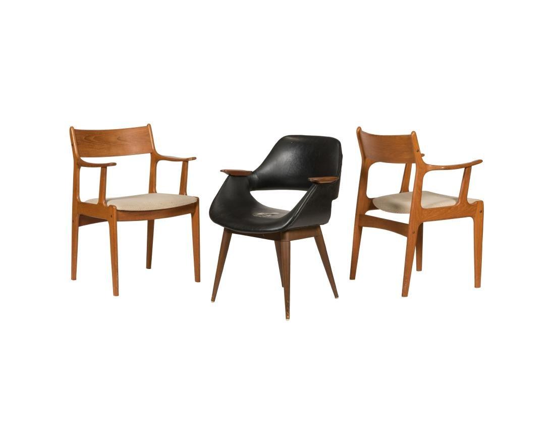 Three Danish Teak Arm Chairs