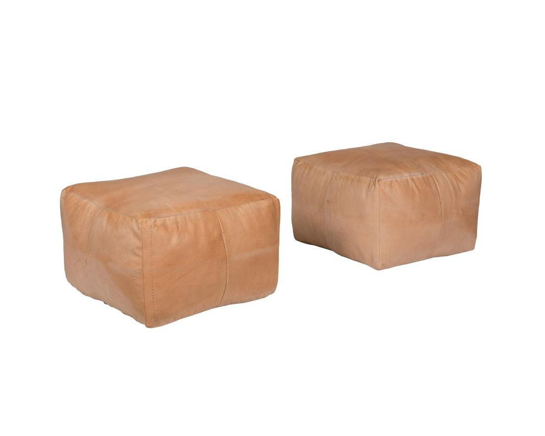 Pair Leather Ottomans