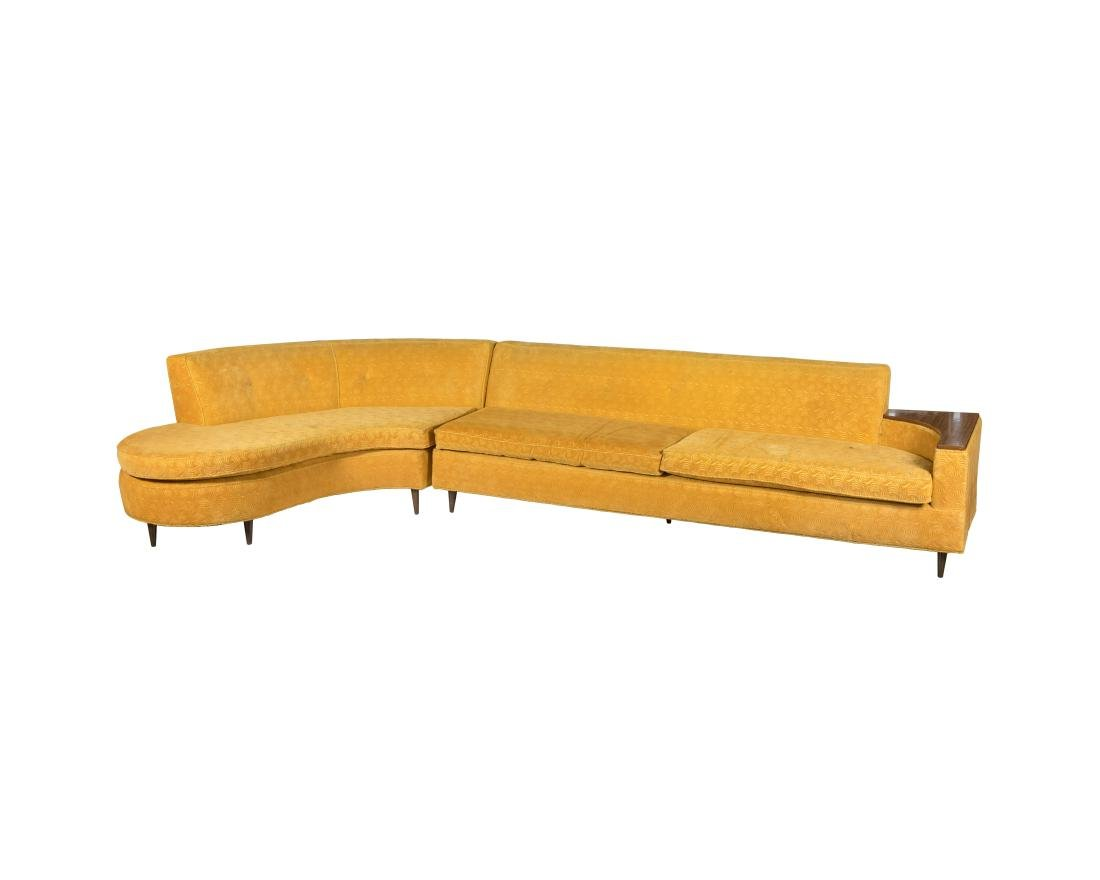 Two Part Cloud Style Serpentine Sofa