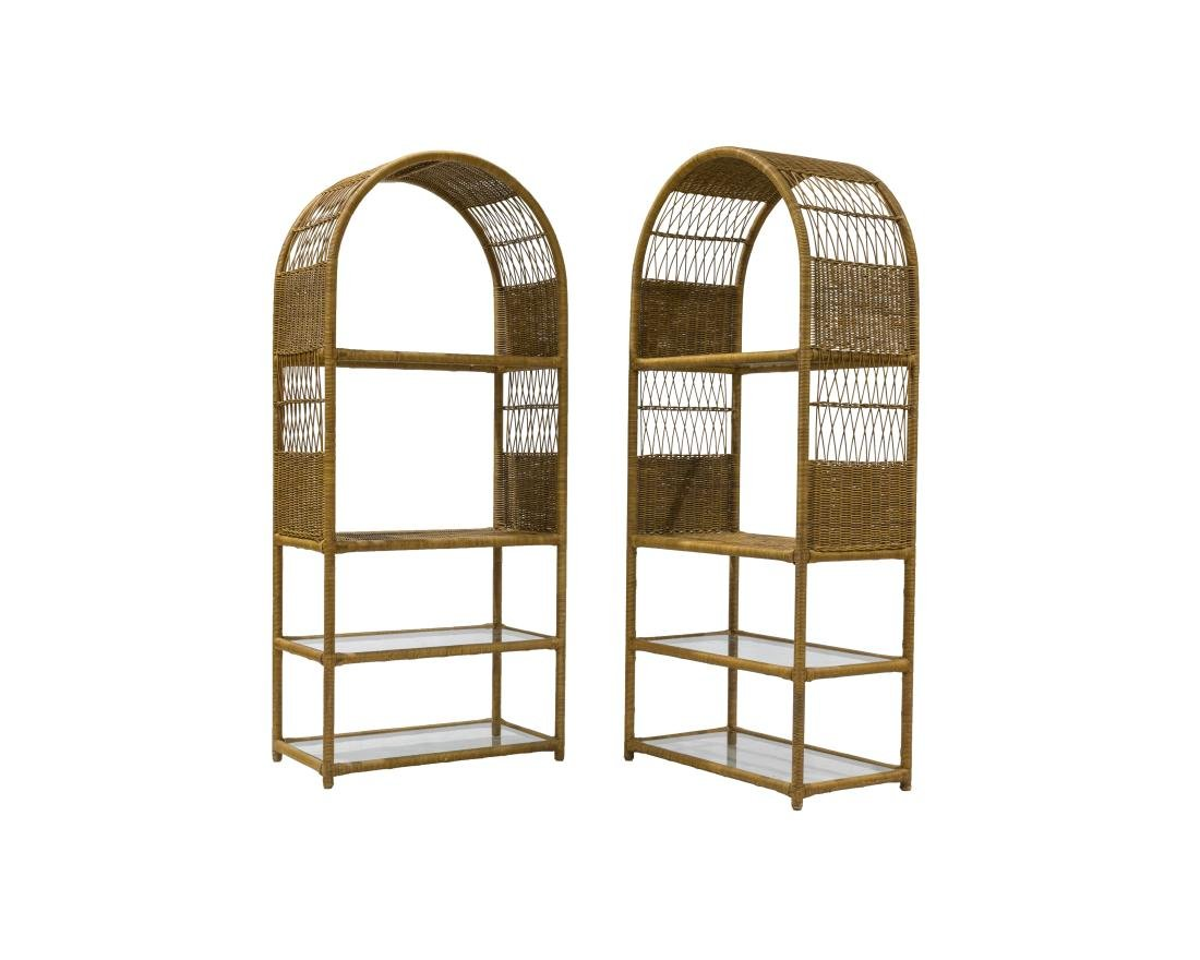 Pair Wicker Wrapped Iron Etageres
