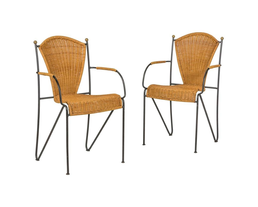 Frederick Weinberg Wicker and Iron Chairs - Pair