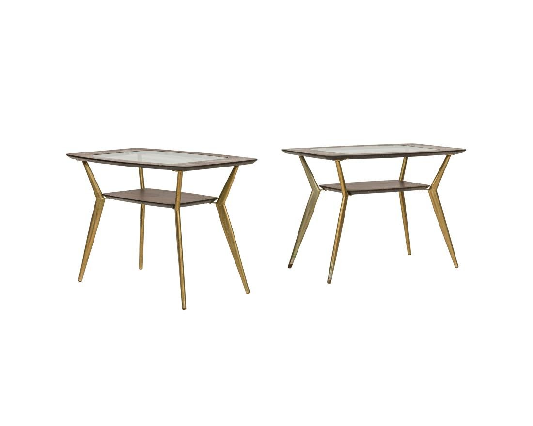 Pair Atomic Brass and Mahogany Tables