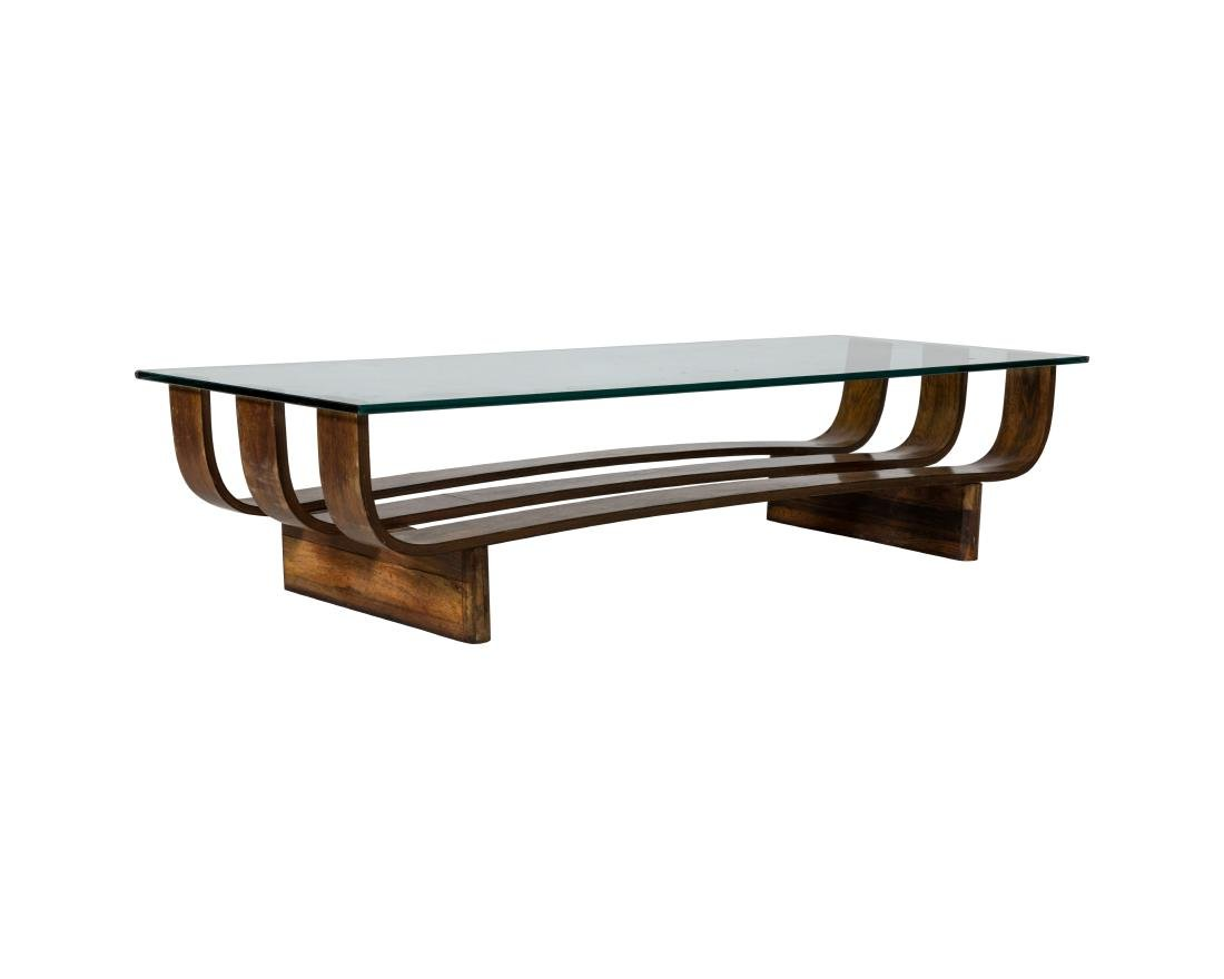 Bent Rosewood and Glass Coffee Table
