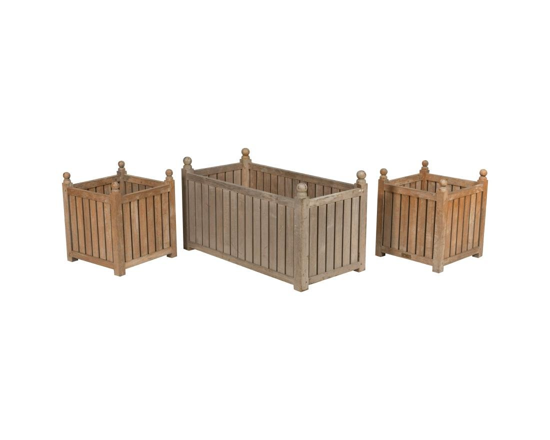 Three Teak Oudoor Planters