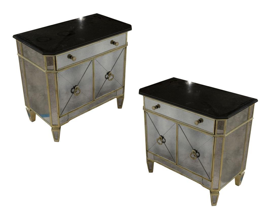 Pair Venetian Style Mirrored Cabinets