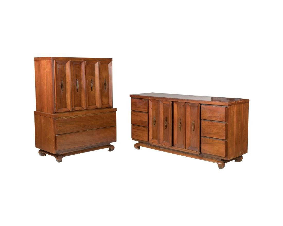 Mid Century Paneled Credenza/Chest and High Chest