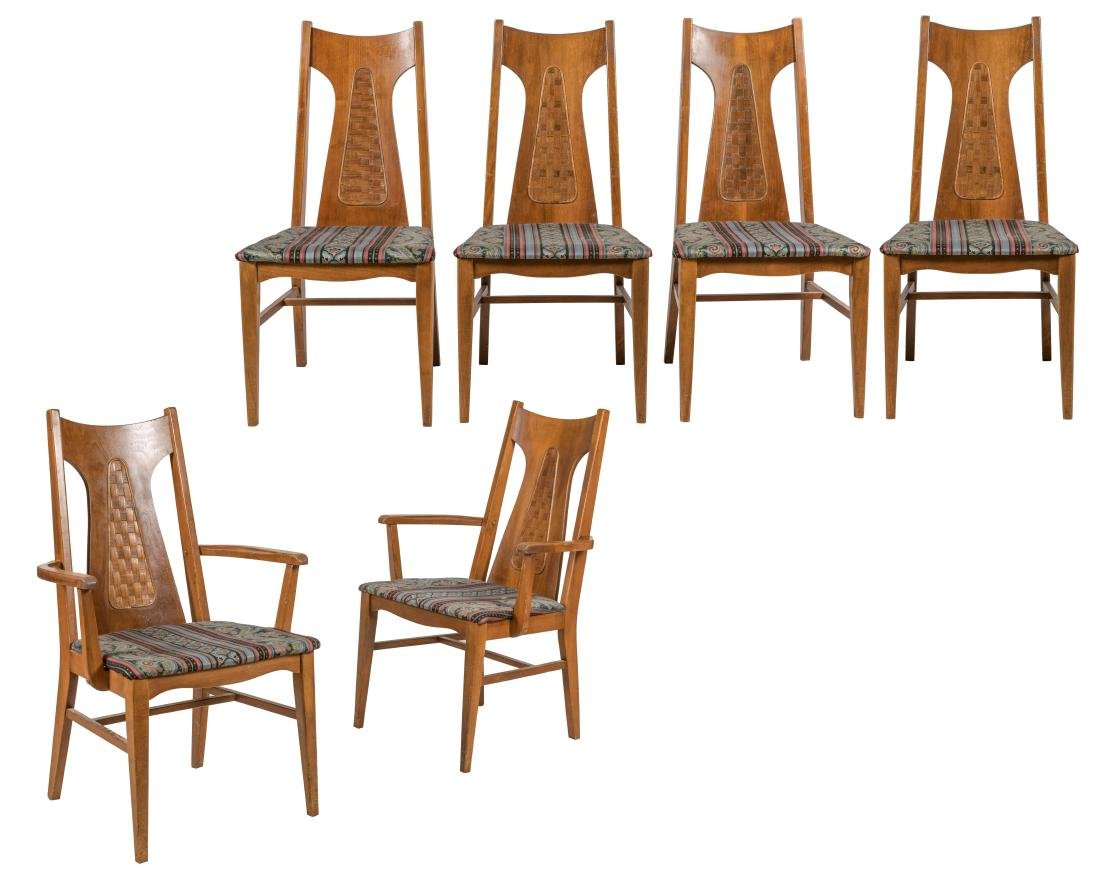 Brasilia Style Walnut Dining Chairs - Six