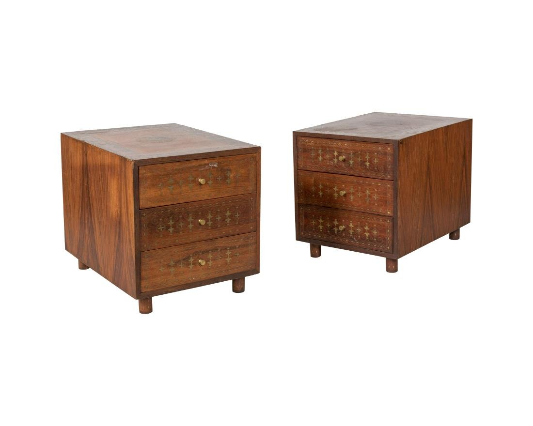 Pair Brass Inlaid Three Drawer Nightstands