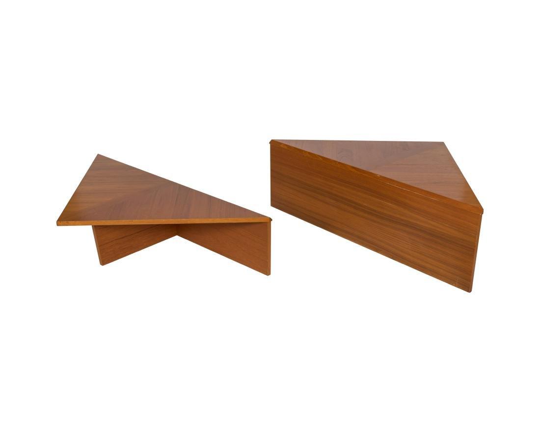 Two Teak Triangular Tables
