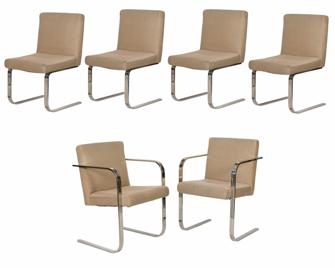 Brno Style Chromed Steel Dining Chairs - Six