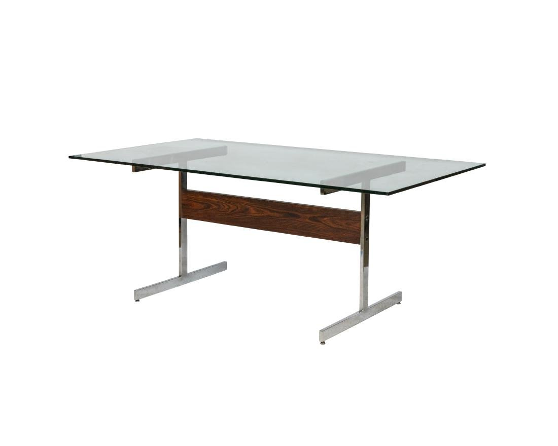 Lane Rosewood and Chrome Dining Table