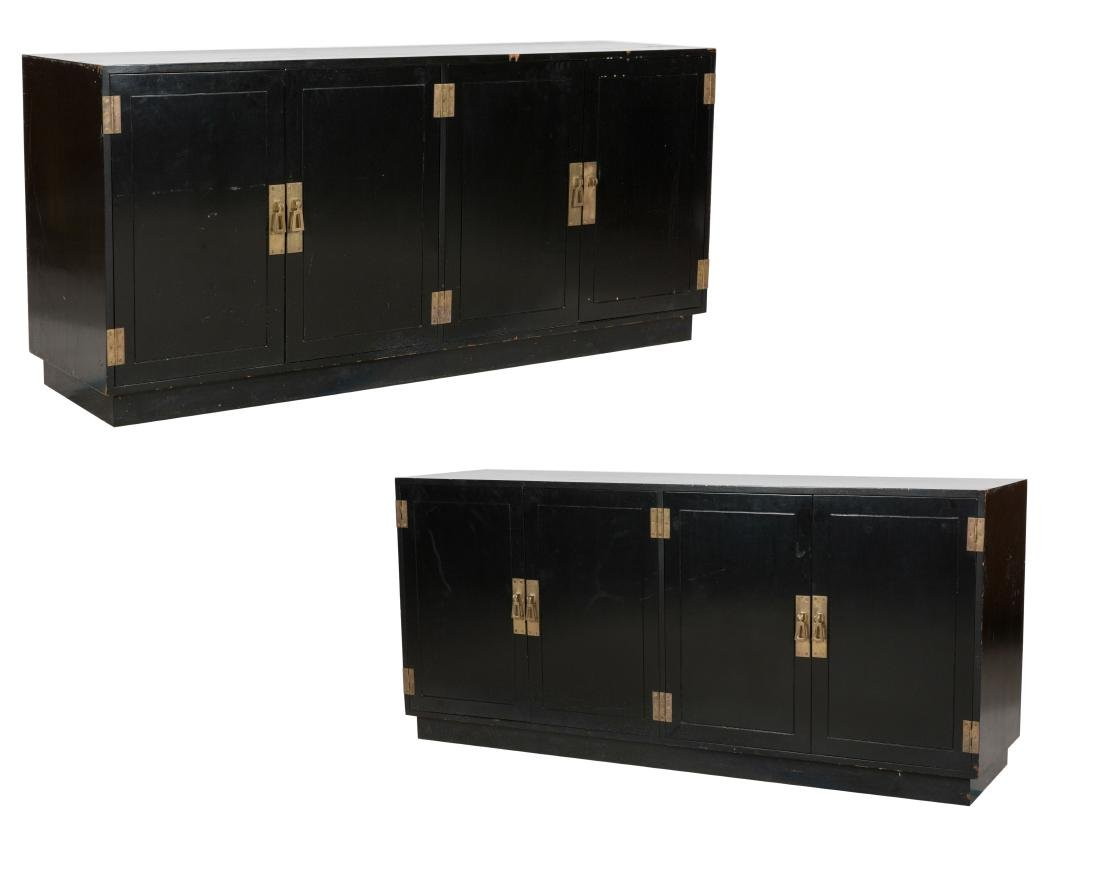 Chinese Modern Black Lacquer Credenzas - Pair