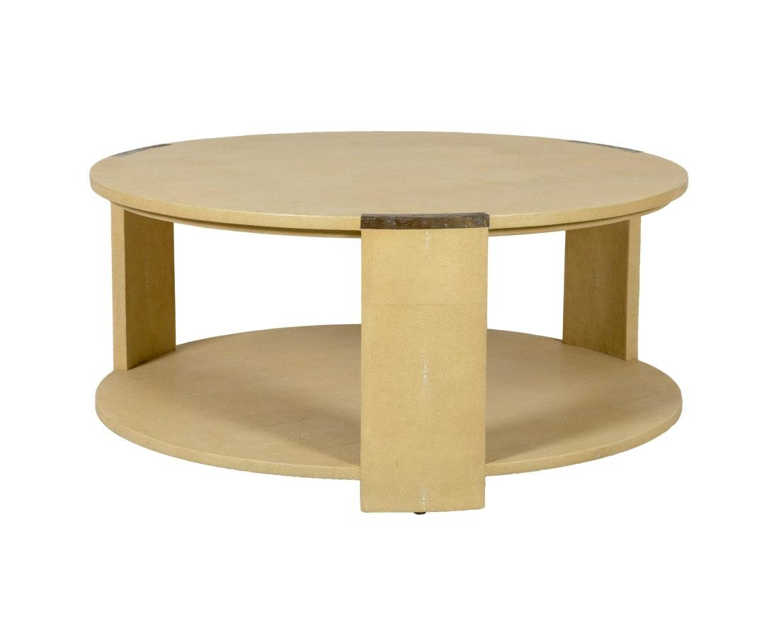 Faux Shagreen Two Tier Coffee Table