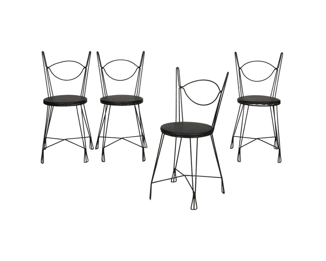 Tony Paul Iron Cafe Chairs - Four
