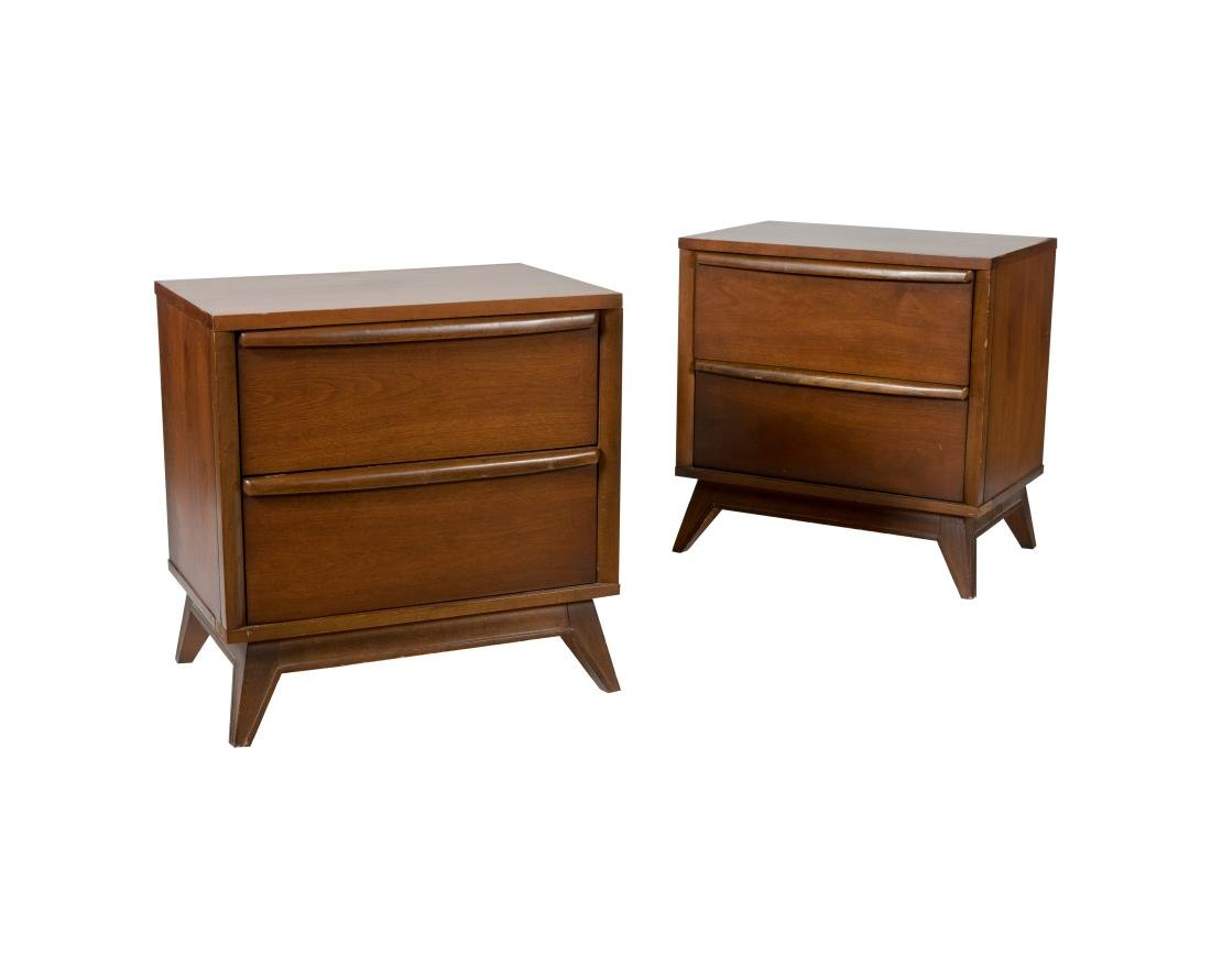 Walnut Two Drawer Nightstands - Pair