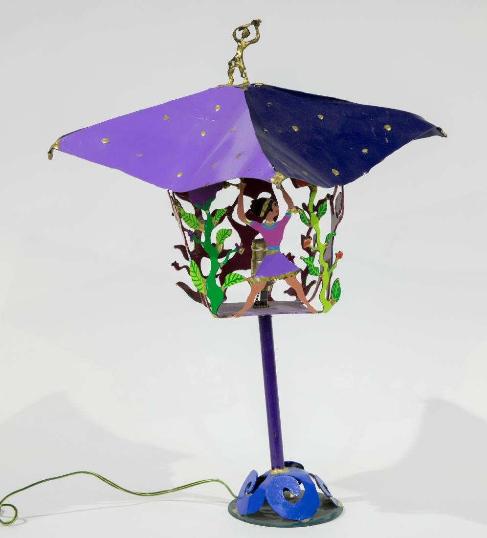 Painted Figural Iron Lamp