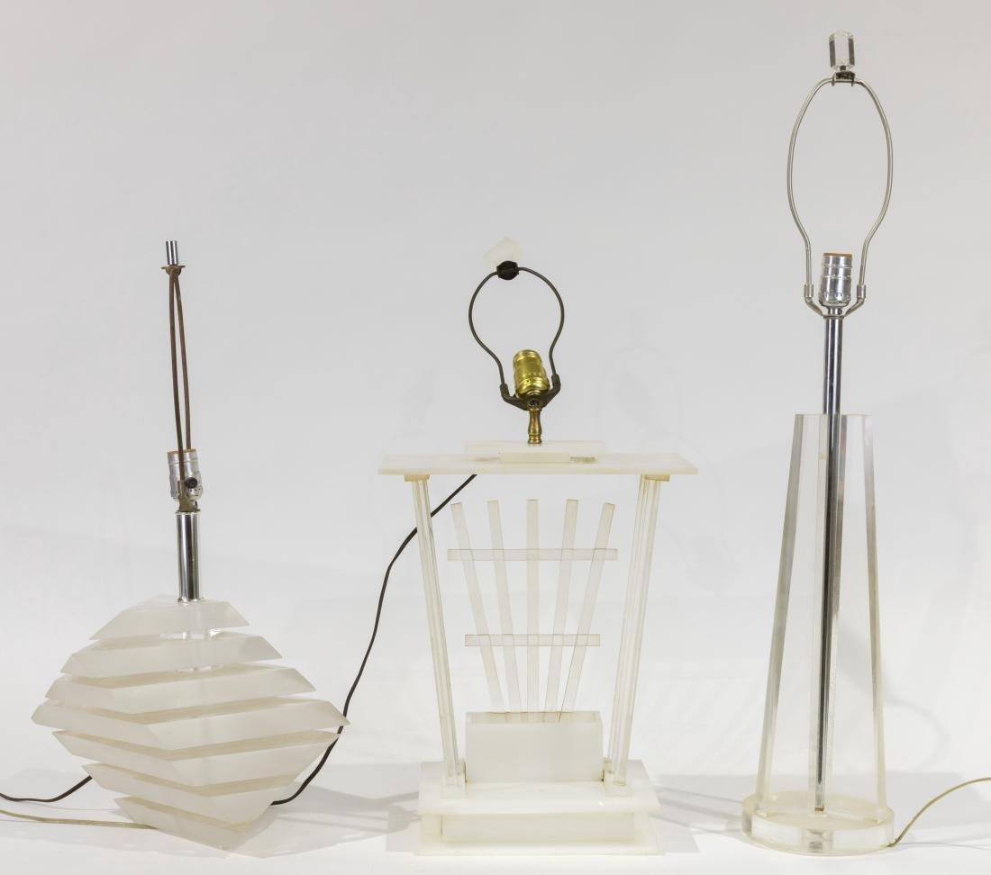 Three Lucite Lamps