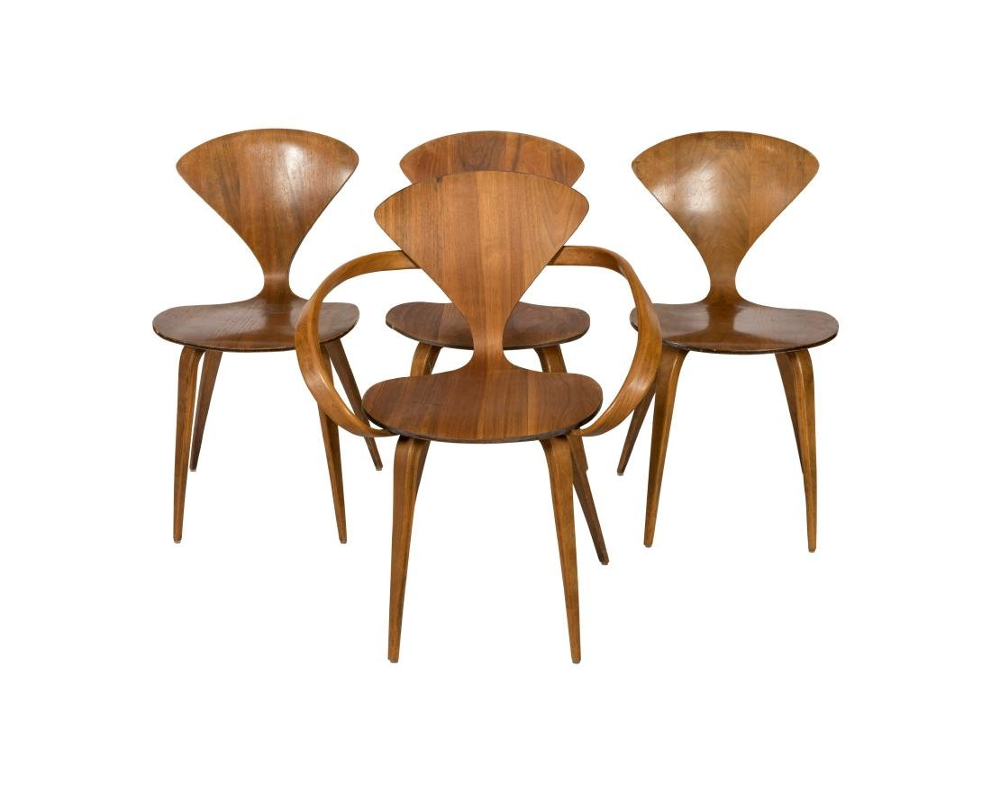 norman cherner for plycraft chairs four
