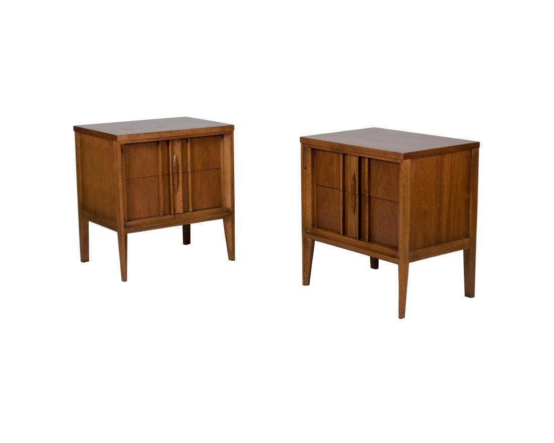 Walnut Mid Century Nightstands - Pair
