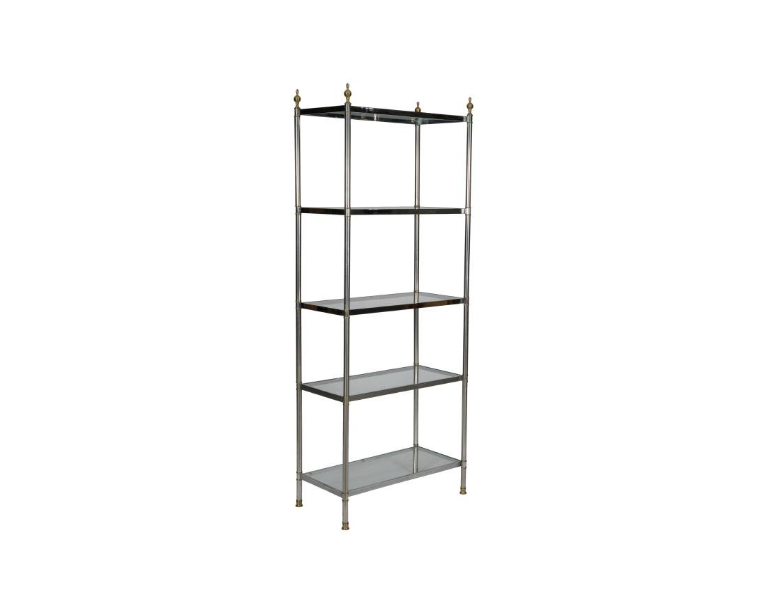 Chrome Brass and Glass Etagere