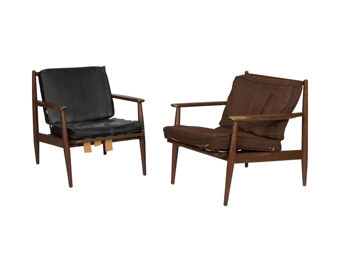 Pair Mid Century Sculpted Arm Chairs