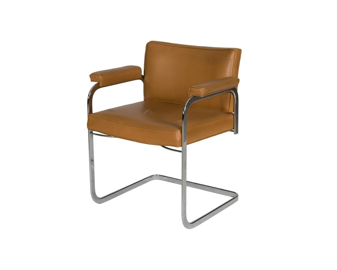 Flat Bar Chrome and Leather Chair