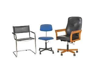 Three Mid Century Office Chairs