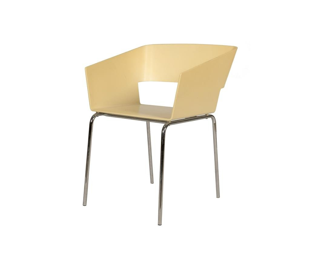 Chrome and Plastic Cube Chair