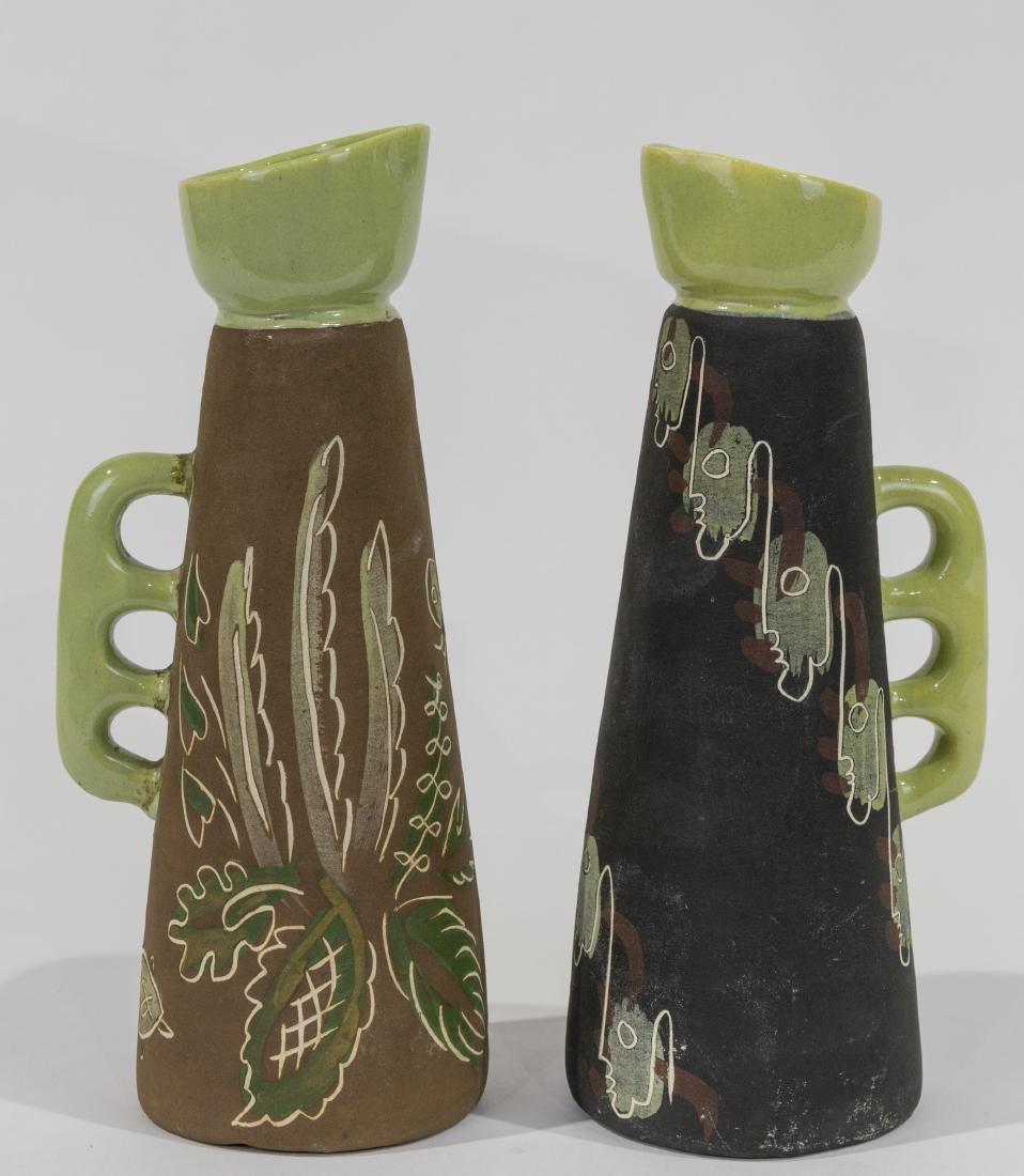 Pair Ceramic Chalice Pitchers