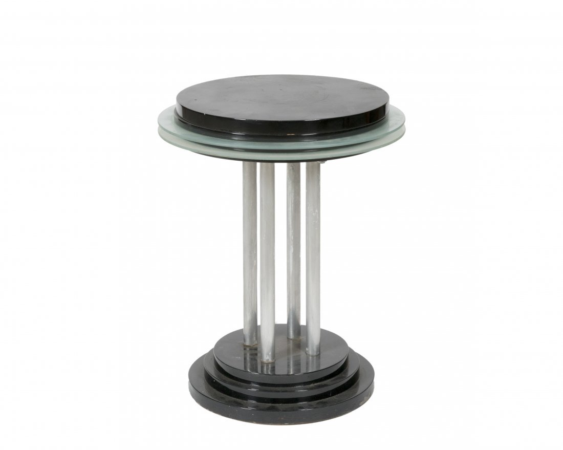 Chrome, Lacquer and Glass Deco End Table