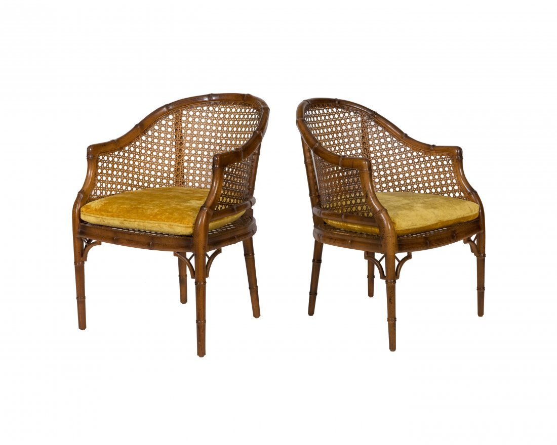 Caned Faux Bamboo Chairs - Pair
